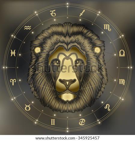 Golden lion head, zodiac Leo sign for astrological predestination and horoscope - stock vector
