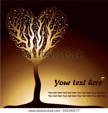 golden love tree on sunset - vector illustration - stock vector