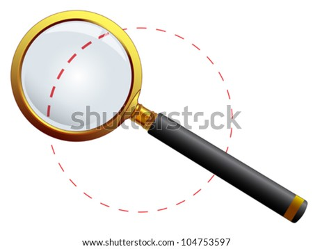 golden magnifying glass against white background, abstract vector art illustration; image contains transparency - stock vector