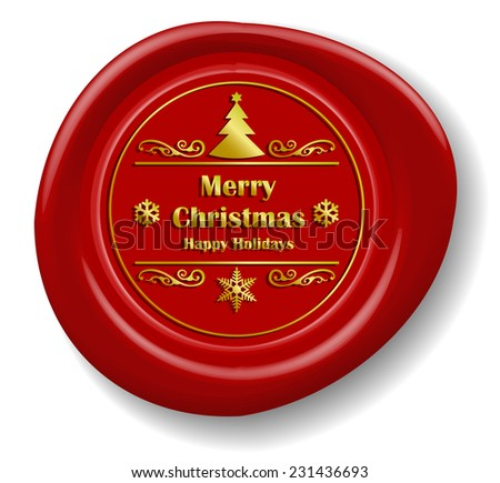 Golden Merry Christmas Design on Red Wax Seal (EPS10 Vector) - stock vector