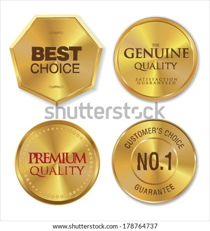 Golden metal badges - stock vector