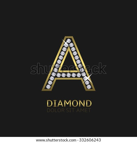 Golden metal letter A logo with diamonds. Luxury, royal, wealth, glamour symbol. Vector illustration - stock vector