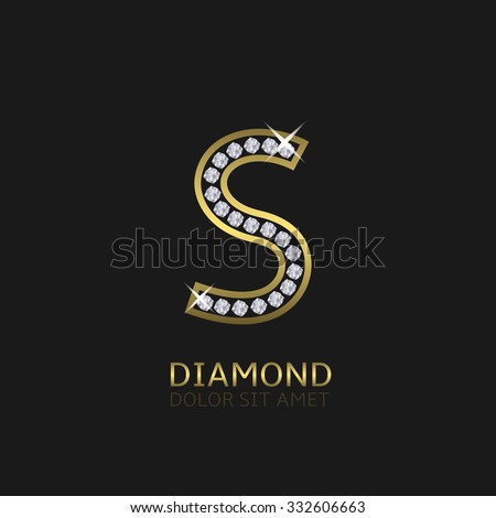 Golden metal letter S logo with diamonds. Luxury, royal, wealth, glamour symbol. Vector illustration - stock vector
