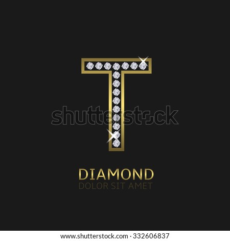 Golden metal letter T logo with diamonds. Luxury, royal, wealth, glamour symbol. Vector illustration - stock vector