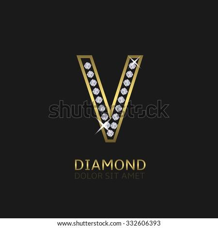 Golden metal letter V logo with diamonds. Luxury, royal, wealth, glamour symbol. Vector illustration - stock vector