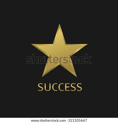 Golden metal star. Success symbol, Vector illustration - stock vector