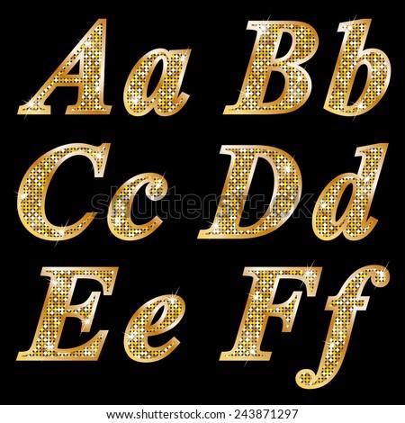 Golden metallic shiny letters A, B, C, D, E, F  - stock vector
