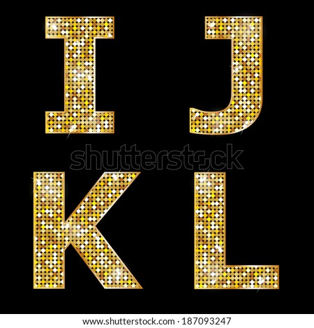 Golden metallic shiny letters I, J, K, L  - stock vector