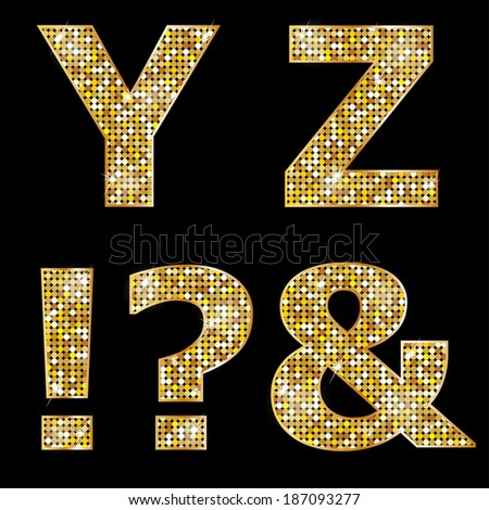 Golden metallic shiny letters Y, Z, !, ?, &  - stock vector