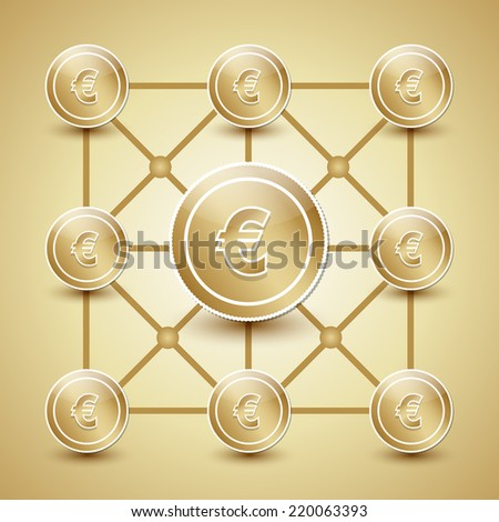 Golden money network made from euro coins - stock vector