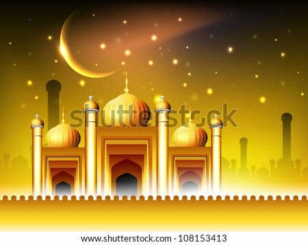 Golden Mosque or Masjid on beautiful shiny  background with moon. EPS 10. - stock vector