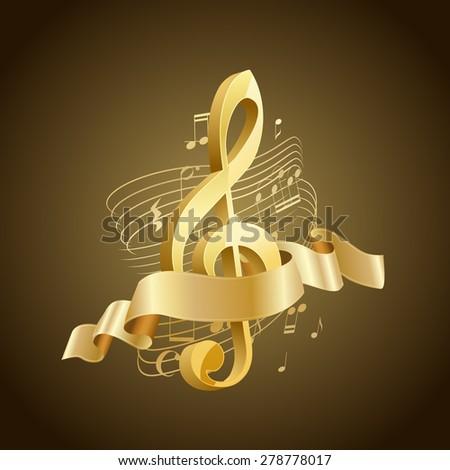golden musical treble clef with abstract lines and notes, ribbon on brown background - stock vector
