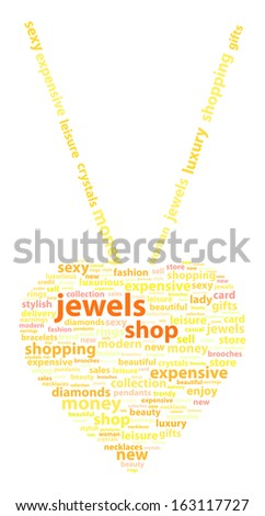 Golden Necklace With Gold Heart Pendant Word Cloud Concept - stock vector