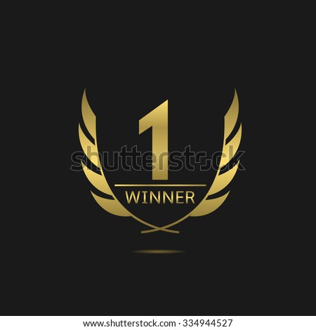 Golden number one icon. Victory award best winner concept. Laurel wreath symbol - stock vector