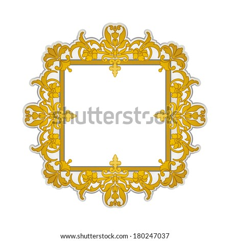 Golden oriental style frame (Persian, Arabian, Gypsy or Indian) - stock vector