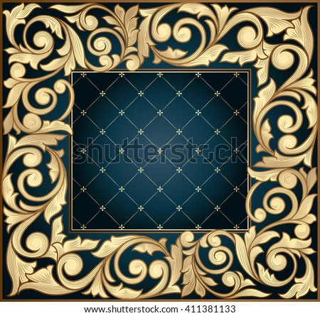 Golden ornate decorative design - stock vector