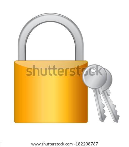 Golden padlock with keys on white background - stock vector