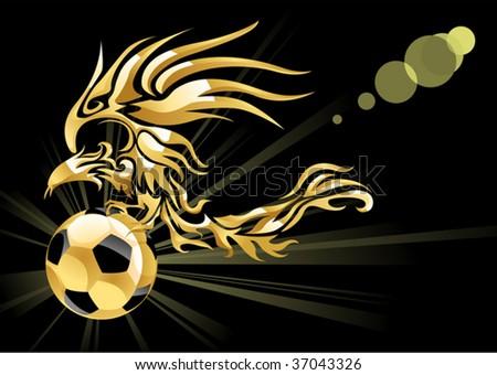 golden phoenix & soccer - stock vector