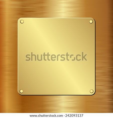 golden plaque on golden background - stock vector