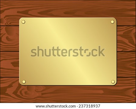 golden plate on dark wooden planks - stock vector