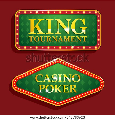 Golden poker casino banners isolated on red background - stock vector