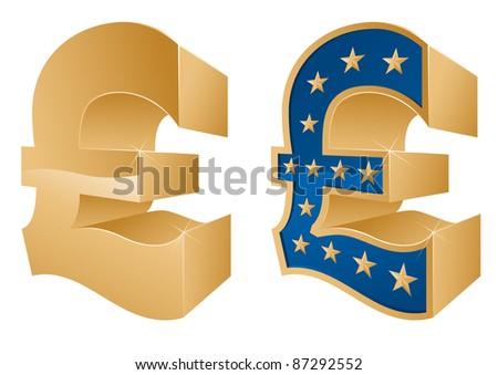 Golden Pound Symbols - stock vector