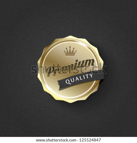 golden premium badge on striped pattern background-vector - stock vector