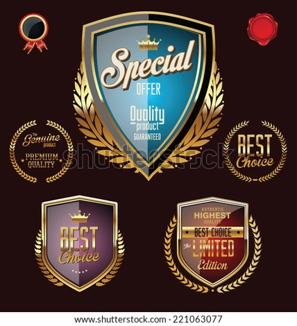 Golden premium quality retro vintage badges - stock vector