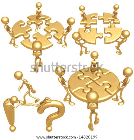 Golden Puzzle Concepts - stock vector