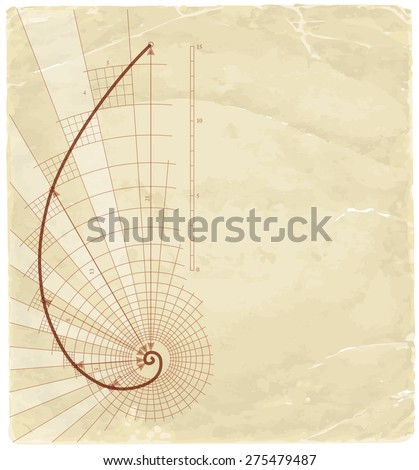 Golden Ratio (Golden Proportion) & old vintage background - stock vector