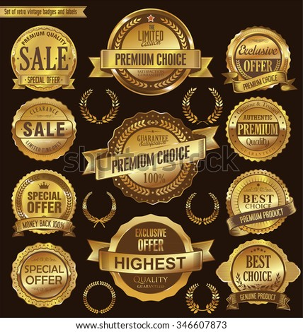 Golden retro badges and labels collection - stock vector