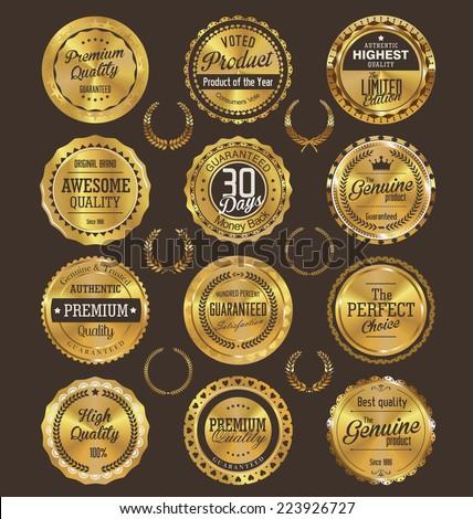 Golden retro badges collection - stock vector