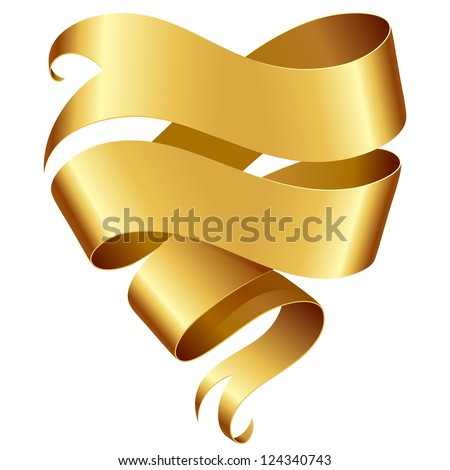 Golden ribbon banner in the shape of heart isolated on white background - stock vector