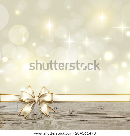 Golden ribbon bow with bokeh Christmas decoration - stock vector
