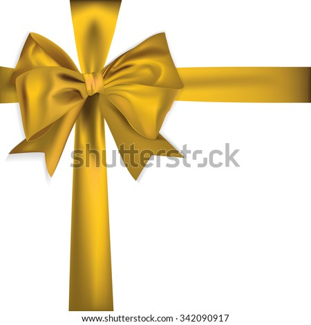 golden ribbon isolated on white background - stock vector