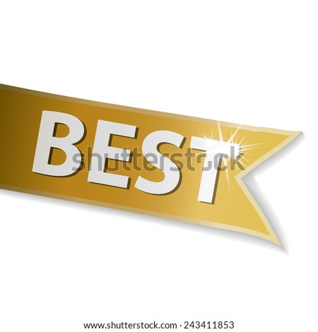 Golden ribbon with word best - stock vector