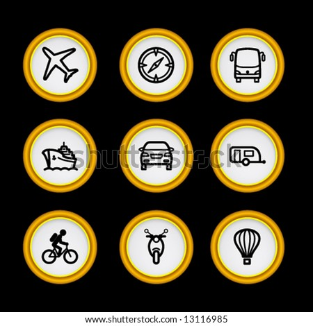 Golden ring web icons, set 20 - stock vector