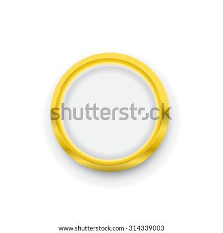 golden round badge coin emblem icon vector - stock vector
