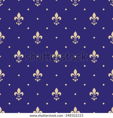 Golden royal lilies on a blue background. Seamless vector pattern. Floral ornament. - stock vector