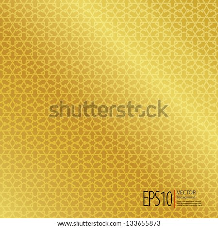 Golden seamless Islamic background - stock vector