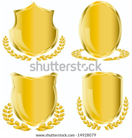 golden shield with laurel wreath - stock vector
