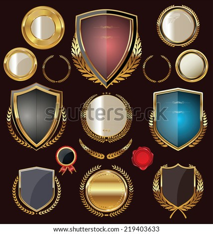 Golden Shields, labels and laurels, collection - stock vector
