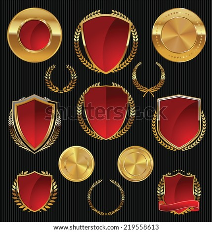 Golden Shields, labels and laurels, gold and red collection - stock vector