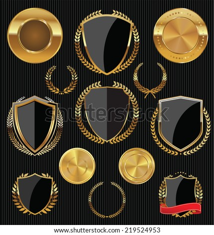 Golden shields, laurels and medals collection - stock vector