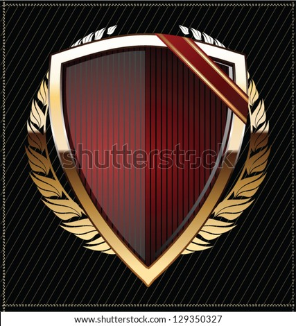 Golden shields with laurel wreath - stock vector