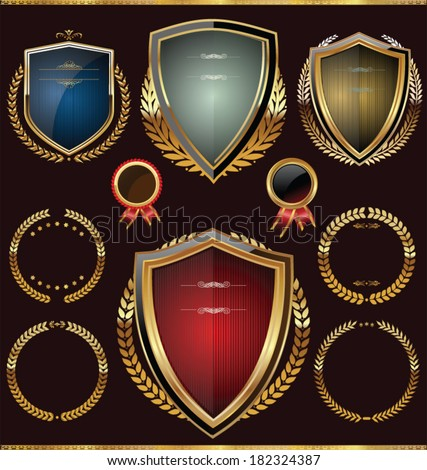 Golden shields with laurels collection - stock vector