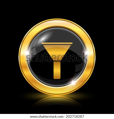 Golden shiny glossy icon on black background. Eps10 vector. - stock vector