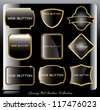 Golden shiny label (vector stickers or web buttons) - stock vector