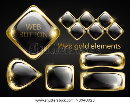 Golden shiny modern elements. Golden web buttons. Vector stickers. Part of set. - stock vector