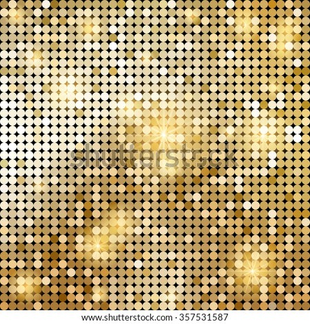Golden shiny mosaic in disco ball style. Vector abstract background.  - stock vector